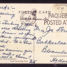 Sellos: REINO UNIDO.(CAT. 213).1952.T.P. DE SOUTHAMPTON A HOLANDA. MAT. MARÍTIMO *PAQUEBOT/POSTED AT SEA*.RR. Lote 24931560