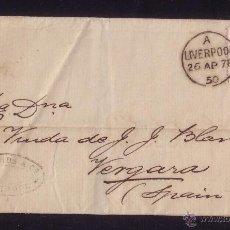 Sellos: REINO UNIDO.(CAT.56).1878.CUBIERTA DE LIVERPOOL A VERGARA (ESPAÑA). 2 1/2 D. MAT. DUPLEX 466.M.BTA.. Lote 24087999