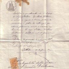Sellos: ITALIA. FISCAL. 1890. DOCUMENTO PAPEL SELLO DE 50 C. PARTE DEFUNCIÓN. REINTEGRADO FISCAL 1 LIRA.. Lote 24017630
