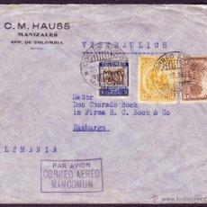 Sellos: COLOMBIA.(CAT.266,268,AÉREO 108).1938.SOBRE CORREO AÉREO DE MANIZALES A HAMBURGO(ALEMANIA).MAGNÍFICA. Lote 23661688