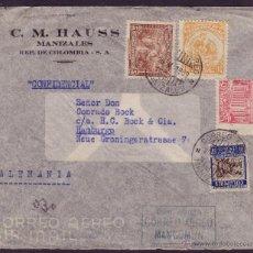 Sellos: COLOMBIA.(CAT.268,321,327,A.108).1939.SOBRE CORREO AÉREO DE MANIZALES A HAMBURGO(ALEMANIA).MAGNÍFICO. Lote 22523672