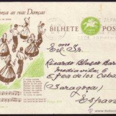 Sellos: PORTUGAL. 1958. ENTERO POSTAL DE LISBOA A ZARAGOZA (ESPAÑA). MAGNÍFICO.. Lote 41026485