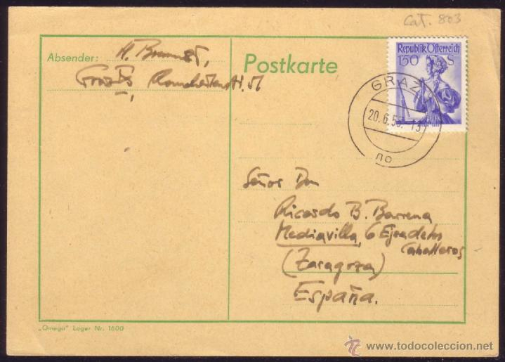 AUSTRIA. (CAT. 803). 1955. TARJETA POSTAL DE GRAZ A ZARAGOZA (ESPAÑA). 1,50 S. MAT. GRAZ 1/NO. LUJO. (Sellos - Historia Postal - Sellos otros paises)