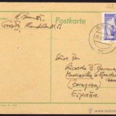 Sellos: AUSTRIA. (CAT. 803). 1955. TARJETA POSTAL DE GRAZ A ZARAGOZA (ESPAÑA). 1,50 S. MAT. GRAZ 1/NO. LUJO.. Lote 41026778