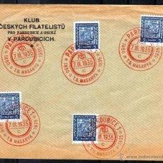 Sellos: CHECOSLOVAQUIA, CLUB FILATELICO CESKYCH, PRO PARDUBICE Y ALREDEDORES 1935, SELLOS 5 HALERU. Lote 44028493