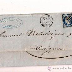 Sellos: SOBRESCRITO CIRCULADO CARTA DE NAPOLEÓN III DEL AÑO 1857 CON SELLO Nº 14B TIPO II. Lote 47348921