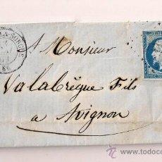 Sellos: SOBRESCRITO CIRCULADO CARTA DE NAPOLEÓN III DEL AÑO 1859 CON SELLO Nº 14A TIPO I. Lote 47411779