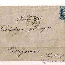 Sellos: SOBRESCRITO CIRCULADO CARTA DE NAPOLEÓN III DEL AÑO 1859 CON SELLO N º 14A YV. TIPO I. Lote 47437979