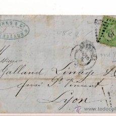 Sellos: SOBRESCRITO CIRCULADO CARTA DE NAPOLEÓN III DEL AÑO 1868 CON SELLO Nº 20 YV.. Lote 47438074