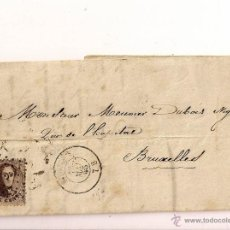 Sellos: SOBRESCRITO CIRCULADO MANUSCRITO CARTA DEL AÑO 1865 CON SELLO 10 CENT POSTES BRUXELLES. Lote 47740520