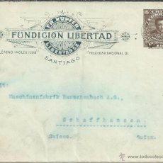 Francobolli: CHILE ENTERO POSTAL FUNDICION LIBERTAD SANTIAGO A SUIZA 1913. Lote 49739752