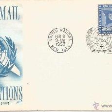 Sellos: ONU NACIONES UNIDAS NEW YORK SELLO CORREO AEREO AVION BANDERA 1959. Lote 51336871