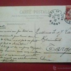 Sellos: FERROCARRILES, MATASELLOS GARE (ESTACIÓN) DE LYON - RHONE , 20 SEPTIEMBRE 1912 , A TÁNGER MARRUECOS. Lote 51576005