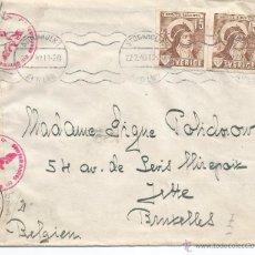Sellos: SUECIA WW2 CC DE ESTOCOLMO A BRUXELLES MARCA Y CIERRE DE CENSURA ALEMANA DE BERLIN 1942. Lote 51596165