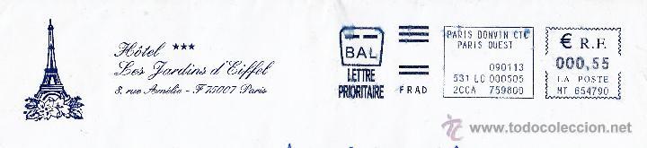 FRANCIA. SOBRE COMPLETO. FRANQUEO MECÁNICO AZUL. LETTRE PRIORITAIRE. PARIS BONVIN CTC. PARIS OUEST. (Sellos - Historia Postal - Sellos otros paises)