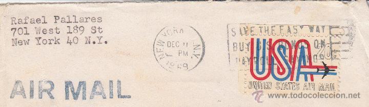 ESTADOS UNIDOS. SOBRE COMPLETO CIRCULADO A ESPAÑA CON MATº NEW YORK 1969. (Sellos - Historia Postal - Sellos otros paises)