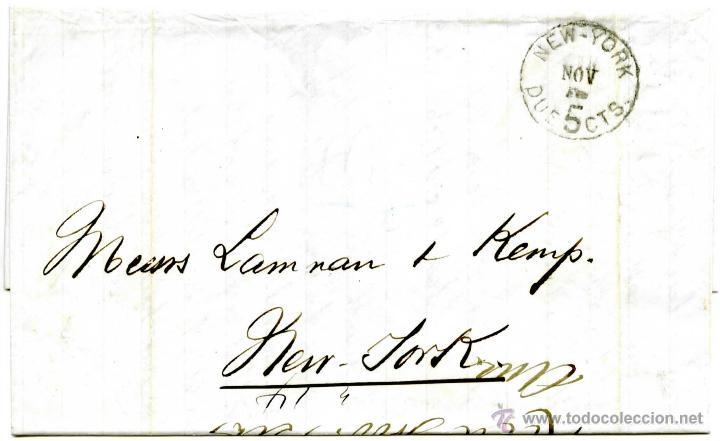 HISTORIA POSTAL DE CUBA. CORREO AMERICANO DE SANTIAGO A NEW YORK, 1876 (Sellos - Historia Postal - Sellos otros paises)