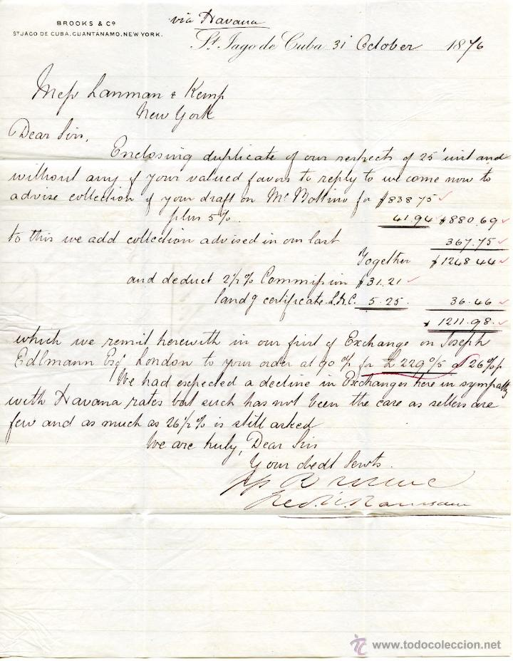 Sellos: Historia postal de Cuba. Correo americano de Santiago a New York, 1876 - Foto 3 - 55011097