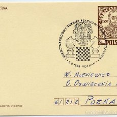 Sellos: AJEDREZ CHESS - POZNAN 1983 - MATASELLO EN TARJETA ENTERO POSTAL CIRCULADA. Lote 56108202
