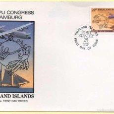 Sellos: SOBRE PRIMER DÍA FALKLAND ISLANDS. XIX UPU CONGRESS HAMBURG. 25-06-1984. Lote 56939868