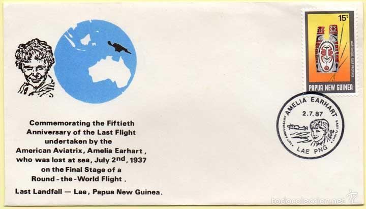 SOBRE CONMEMORATIVO DEL ÚLTIMO VUELO DE AMELIA EARHART. PAPUA NUEVA GUINEA. 02-07-1987 (Sellos - Historia Postal - Sellos otros paises)