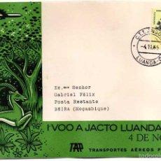 Sellos: SOBRE PRIMER DÍA I VOO A JACTO LUANDA BEIRA. TRANSPORTES AÉREOS PORTUGUESES. 04-11-1965. Lote 56940590