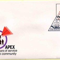 Sellos: SOBRE PRIMER DÍA. PAPUA NUEVA GUINEA. APEX 30 AÑOS DE SERVICIO. 19-08-1987. Lote 57204830