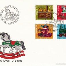 Sellos: SUIZA. PRO JUVENTUTE 1983. SPD 24.11.83. JUGUETES ANTIGUOS, TRENES.. Lote 57894120