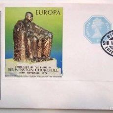 Selos: SOBRE ''EL PRIMER DÍA'' CENTENARIO CHURCHILL 1974. Lote 58209891