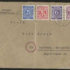 Sellos: ALEMANIA 1946 SOBRE CIRCULADO- MATASELLO DE BRAUNSCHWEIG. Lote 58449266