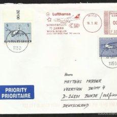 Sellos: AUSTRIA 2002 SOBRE CIRCULADO- AVION- AEROLINEA LUFTHANSA- 75 ANIV. VUELO WIEN- BERLIN- FDC . Lote 58572712