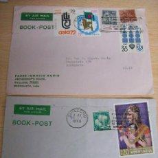 Sellos: 2 SOBRES CORREO AEREO DE LA INDIA A BARCELONA .1973. Lote 69667465