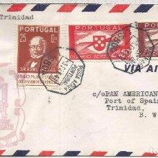 Francobolli: PORTUGAL LISBOA CC PRIMER VUELO LISBOA TRINIDAD 1941 AL DORSO MAT PORT OF SPAIN. Lote 177206509