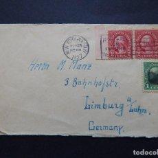 Sellos: DE NEW YORK A LIMBURGO DEL LAHN (ALEMANIA), 1927 - REGISTER OR INSURE - ANTIGUO SOBRE. Lote 79877981