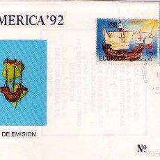 Sellos: ECUADOR, FDC UPAEP´92, DESCUBRIMIENTO DE AMERICA, CRISTOBAL COLON.. Lote 81220724