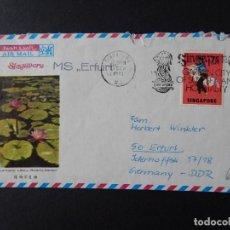 Sellos: SOBRE SINGAPUR A ALEMANIA 1973 AÉREO - LARKSPUR LAKE BOTANIC GARDEN. Lote 86557396
