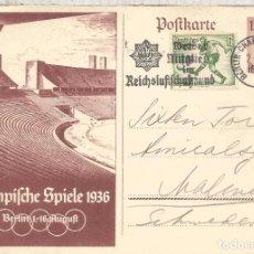 Sellos: ALEMANIA REICH 1936 ENTERO POSTAL JUEGOS OLIMPICOS DE BERLON CON FRANQUEO ADICIONAL SELLO FUTBOL FO. Lote 95934571