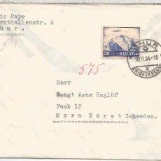 Sellos: SUIZA CHUR 1944 WW2 CC A SUECIA CON CENSURA MILITAR ALEMANA DE BERLIN . Lote 95934735