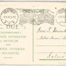 Sellos: NORUEGA 1914 ENTERO POSTAL E C DUE CON MAT RODILLO CENTENARY EXHIBITION . Lote 95934947