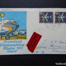 Sellos: SOBRE ALEMANIA 1.4.1965 - EXPOSICIÓN INTERNACIONAL DE TRÁFICO. MUNICH: AVIÓN Y COHETE - E. EXPRÈS. Lote 97300431
