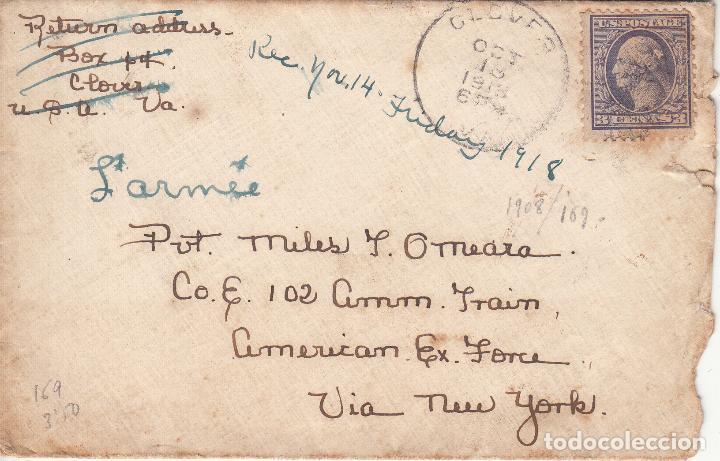 ESTADOS UNIDOS. SOBRE CIRCULADO A VALENCIA 1918. YVERT 169. REVERSO VIÑETA 'MY (CORAZÓN) IS IN... (Sellos - Historia Postal - Sellos otros paises)