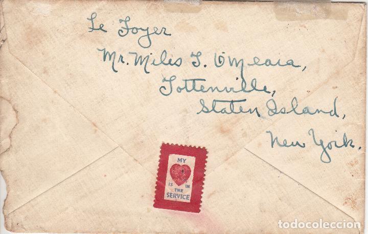 Sellos: ESTADOS UNIDOS. SOBRE CIRCULADO A VALENCIA 1918. YVERT 169. REVERSO VIÑETA MY (CORAZÓN) IS IN... - Foto 2 - 98196435