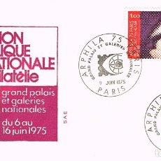 Sellos: FRANCIA IVERT 1830/3, ARPHILA 75, EXPOSICIÓN FILATELICA INTERNACIONAL, PRIMER DIA DE 9-6-1975. Lote 98478303