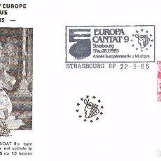 Sellos: FRANCIA, AÑO INTERNACIONAL DE LA MUSICA, EUROPA CANTAT (ESTRASBURGO), MATASELLO DE 22-5-1985. Lote 100315371