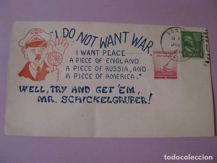 SOBRE DE CORREO ESTADOS UNIDOS CON CARICATURA DE MR. SCHICKELGRUBER ( HITLER ) 1944. (Sellos - Historia Postal - Sellos otros paises)
