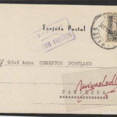 Sellos: TARJETA POSTAL PASAJES (GUIPÚZCOA) A PAMPLONA AÑO 1937 CENSURA MILITAR PASAJES GABINO GACÍA ANDOLIN . Lote 102967591