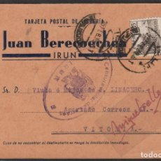 Sellos: TARJETA POSTAL COMERCIAL JUAN BERECOECHEA DE IRUN (GUIPUZCOA) A VITORIA 1938 -CENSURA MILITAR IRUN . Lote 102970987