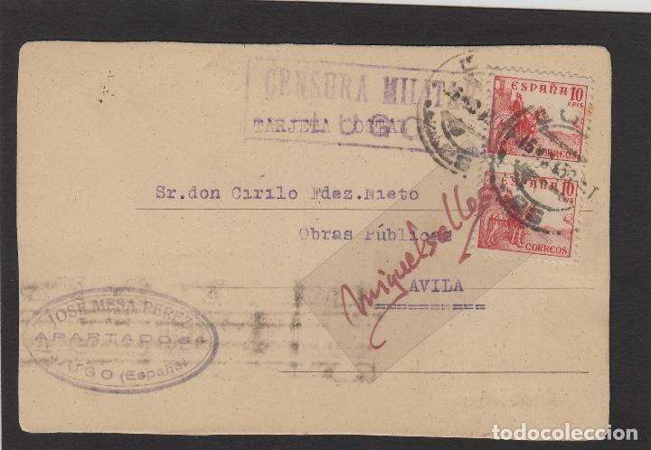TARJETA POSTAL DE LUGO A ÁVILA 1937 -CENSURA MILITAR LUGO - TAMPÓN JOSÉ MESA PÉREZ (Sellos - Historia Postal - Sellos otros paises)