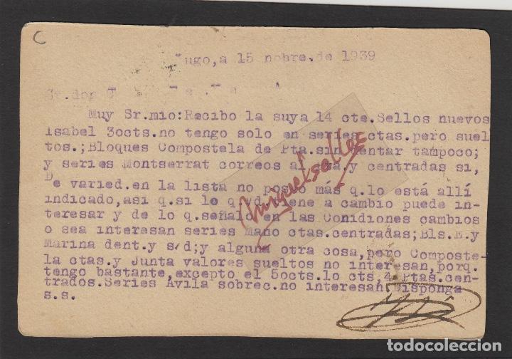 Sellos: TARJETA POSTAL de Lugo a Ávila 1937 -CENSURA MILITAR LUGO - tampón José Mesa Pérez - Foto 2 - 102971531