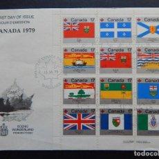 Sellos: SOBRE FDC CANADÁ 15.6.1979 - FIESTA NACIONAL. BANDERAS Y ESCUDOS DE LAS PROVINCIAS DE CONFEDERACIÓN. Lote 108445039